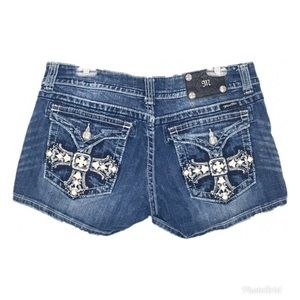 Miss Me Jeans Shorts Embellished Cross Size 32